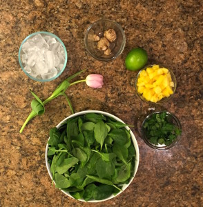 GREEN CILANTRO SMOOTHIE  Serves 1 juice from one lime (squeezed by hand)  2 cups of filtered water  1 cup kale or spinach leaves  1 cup chopped fresh pineapple  1/2 cup fresh cilantro  1/2 inch fresh ginger root, unpeeled; 1 cup ice