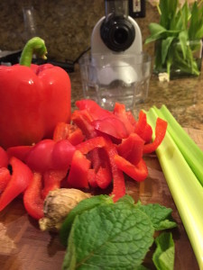 RED PEPPER-MINT JUICE  Serves 1 2 red bell peppers, cored and seeded; 2 stalks celery, roughly chopped; 1 inch fresh ginger root, unpeeled; After juicing: fresh mint leaves, crushed; pure stevia, to taste (optional)